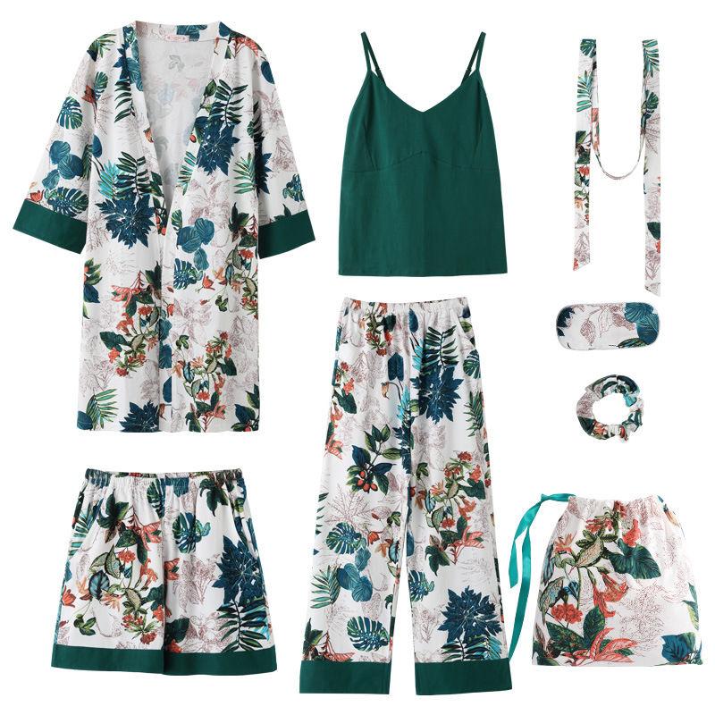 2018 Autumn Winter 7 Pieces Set Cotton Elegant Women Pajamas Full Shorts Long Sleeve Top Elastic Waist Pants Silk Lounge Robe