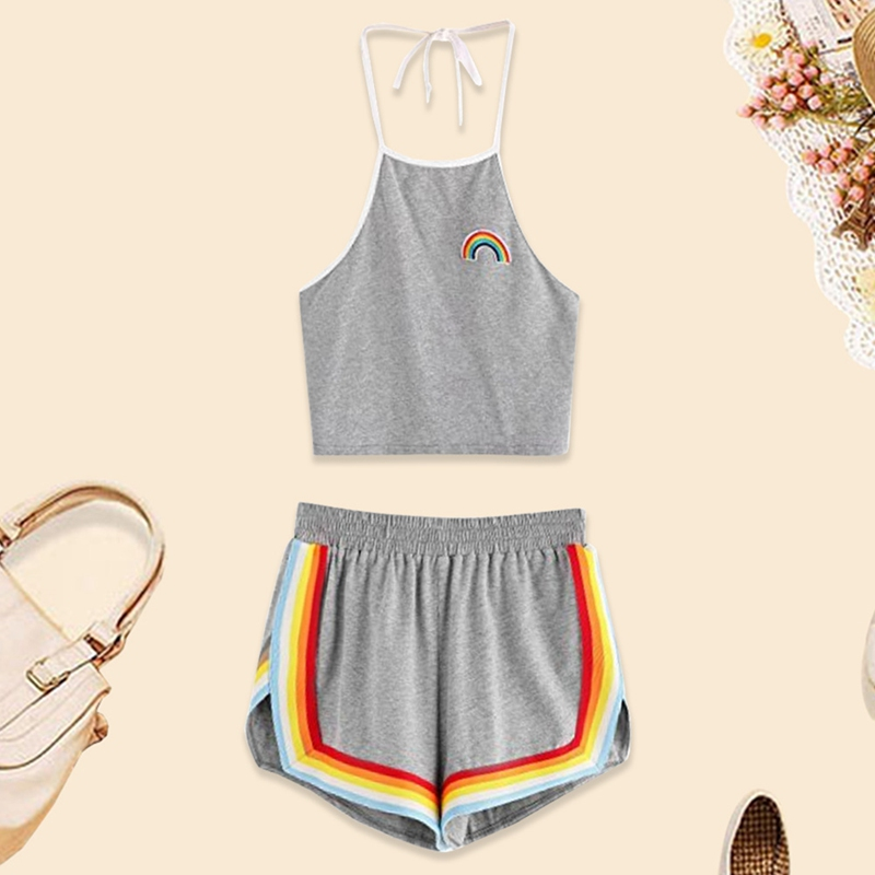 Summer 2 Piece Set Shorts Women Crop Tops Women 2018 Summer Ladies Rainbow Patch Halter Top and Colorful Cute Casual Shorts Set