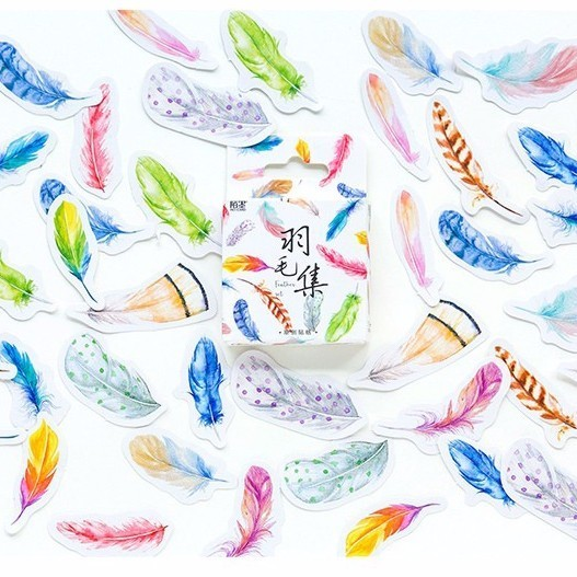 45PCS/box A Collection Of Feathers Diary Paper Lable Stickers Crafts And Scrapbooking Decorative Lifelog Sticker DIY Stationery