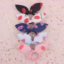 2019 NEW Fashion Cloth material Sexy Lips pattern Rabbit ears girls Elastic Hair Bands hair accessories for women 5pcs/lot(China)