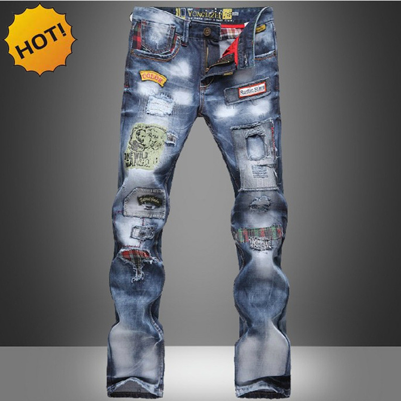 HOT2017 Fashion Hip Hop Dance Denim Jeans Men Cowboy Multi Patch Washing Printed Street Wear Straight Slim Fit Hole Ripped Pants