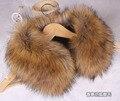 El otoño y el invierno de imitación de piel de conejo de piel de zorro de piel de mapache de imitación cuello de piel del cabo de la bufanda de cuello negro y blanco 55 cm 20 colores