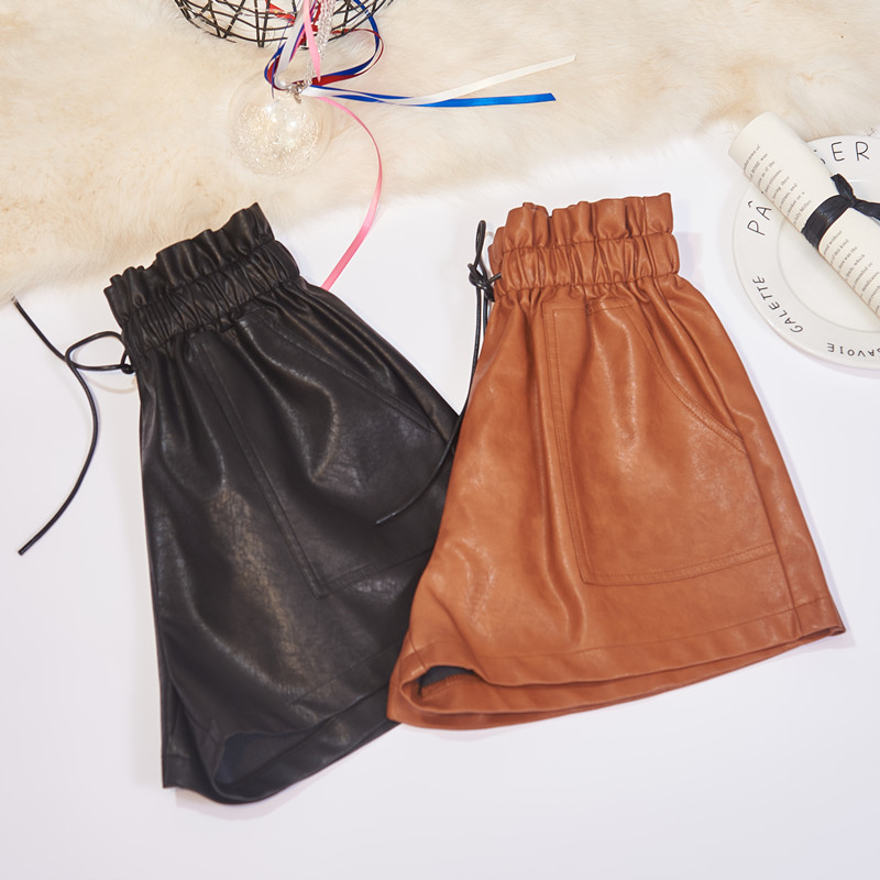 SexeMara Women PU Leather   Shorts   Casual Elastic High Waist Wide Leg   Short   Pants Plus Size Autumn Winter Outerwear Woman   Shorts