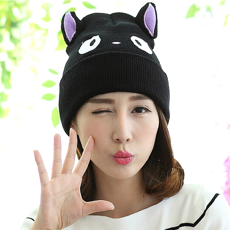 Fashion Lady Girls Winter Warm Knitting Wool Cat Ear Beanie Ski Hat Cap the new children s cubs hat qiu dong with cartoon animals knitting wool cap and pile