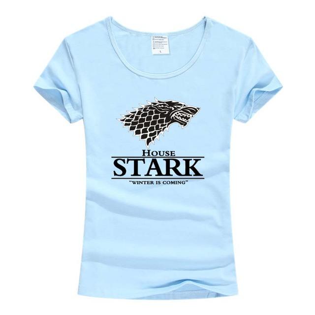 Game Of Thrones Stark Wolf 100% Cotton Women's T Shirt