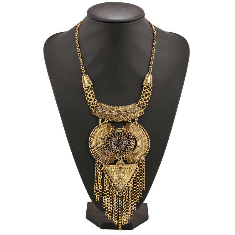 Choker Collar Boho Ethnic Power Maxi Statement Necklace Long Tassel Bohemian Necklaces & Pendants Triangle Vintage Women 2016