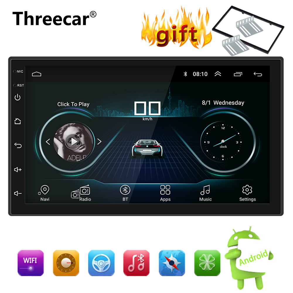 Android 8.1 Car Radio Stereo GPS Navigation Bluetooth wifi Universal 7'' 2din Car Radio Stereo Quad Core Multimedia Player Audio