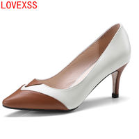 LOVEXSS 2018 Spring New Leather High Heeled Shoes High Heeled Female Korean Style Pointed Shallow Mouth