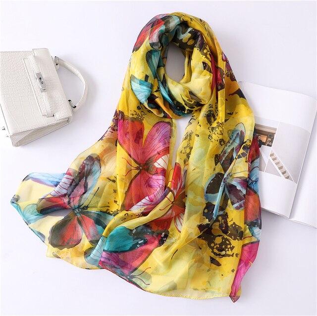 f62faf3ce74e 2019 nouveau femmes soie écharpe doux Papillon imprimer châles et wraps  lady pashmina bandana plage étoles hijabs foulard echarpe