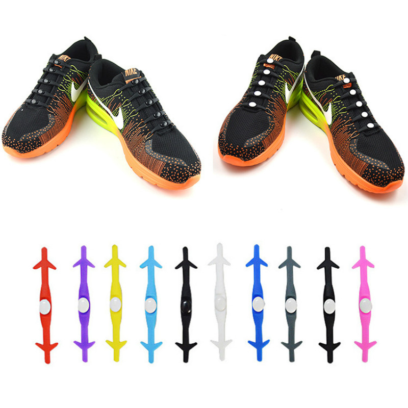 12Pcs/Set Novelty Unisex Women Men No Tie Lazy Shoelaces Elastic Silicone Shoe Lace for All Sneakers Running Shoes Laces Strap 12pcs lot silicone shoelaces 2017 rubber overshoes men women elastic plastic lazy shoeslace no tie sports casual shoes pink blue