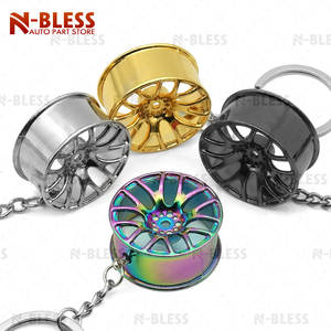 82442f44523c 1 pc Car Wheel Rim Key Chain Keyring Hanging Pendant Racing Wheel Rim Zinc  Alloy