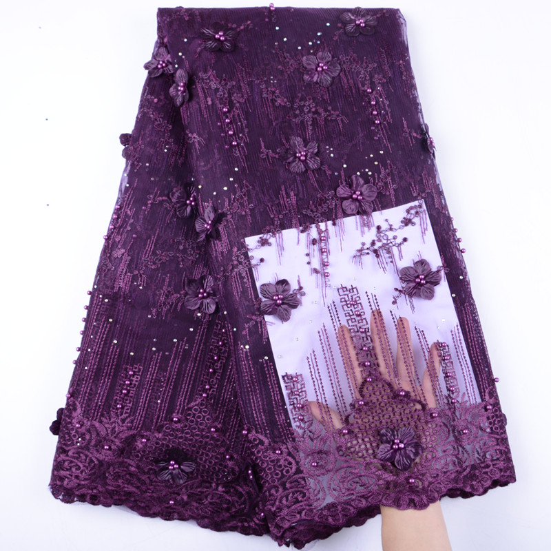 Purple Color High Quality French Lace Fabrics 2019 French Net Lace Fabric African Tulle Mesh Fabric