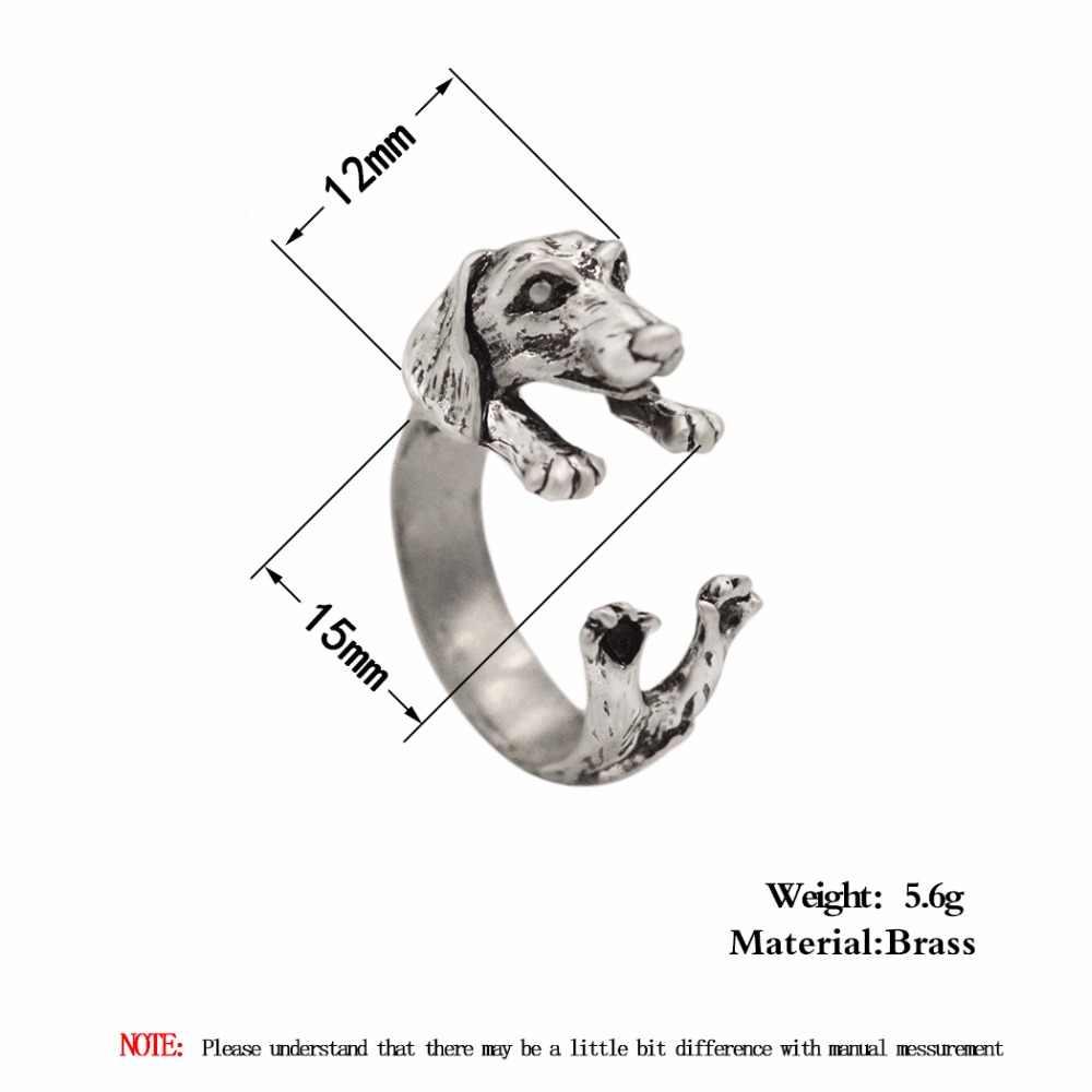 Qiming 2018 Baru Fashion Terbuka Disesuaikan Anjing Cincin Realistis Dachshund Anjing Puppy Hewan Cincin untuk Wanita Wanita Hadiah Pria Perhiasan
