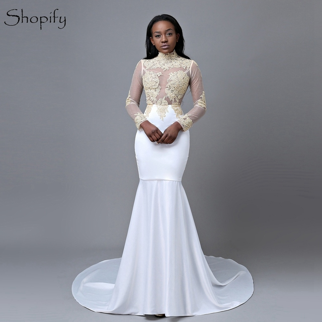 3a141410ec4 Elegant Mermaid High Neck Long Sleeve Gold Lace Floor Length African Long  White Prom Dresses 2018