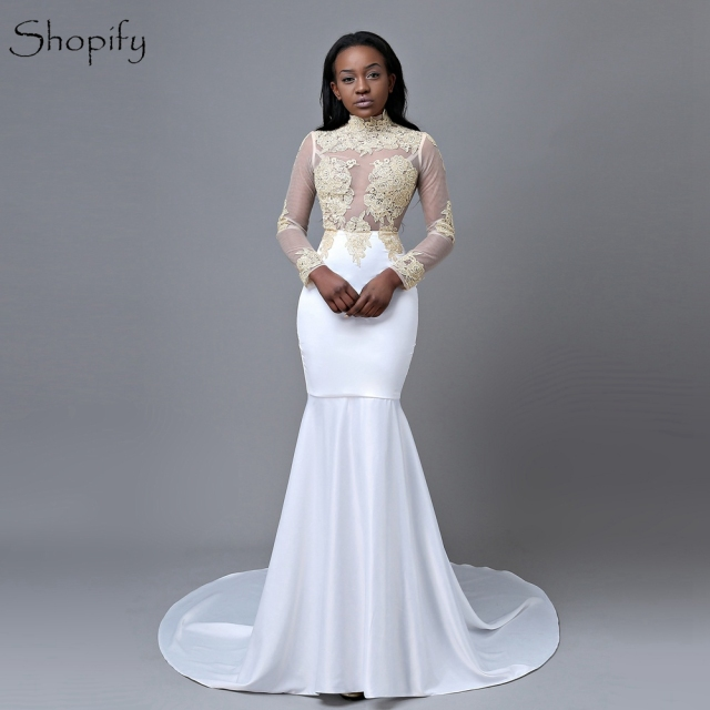 4368b08d86be9f Elegant Mermaid High Neck Long Sleeve Gold Lace Floor Length African Long  White Prom Dresses 2019