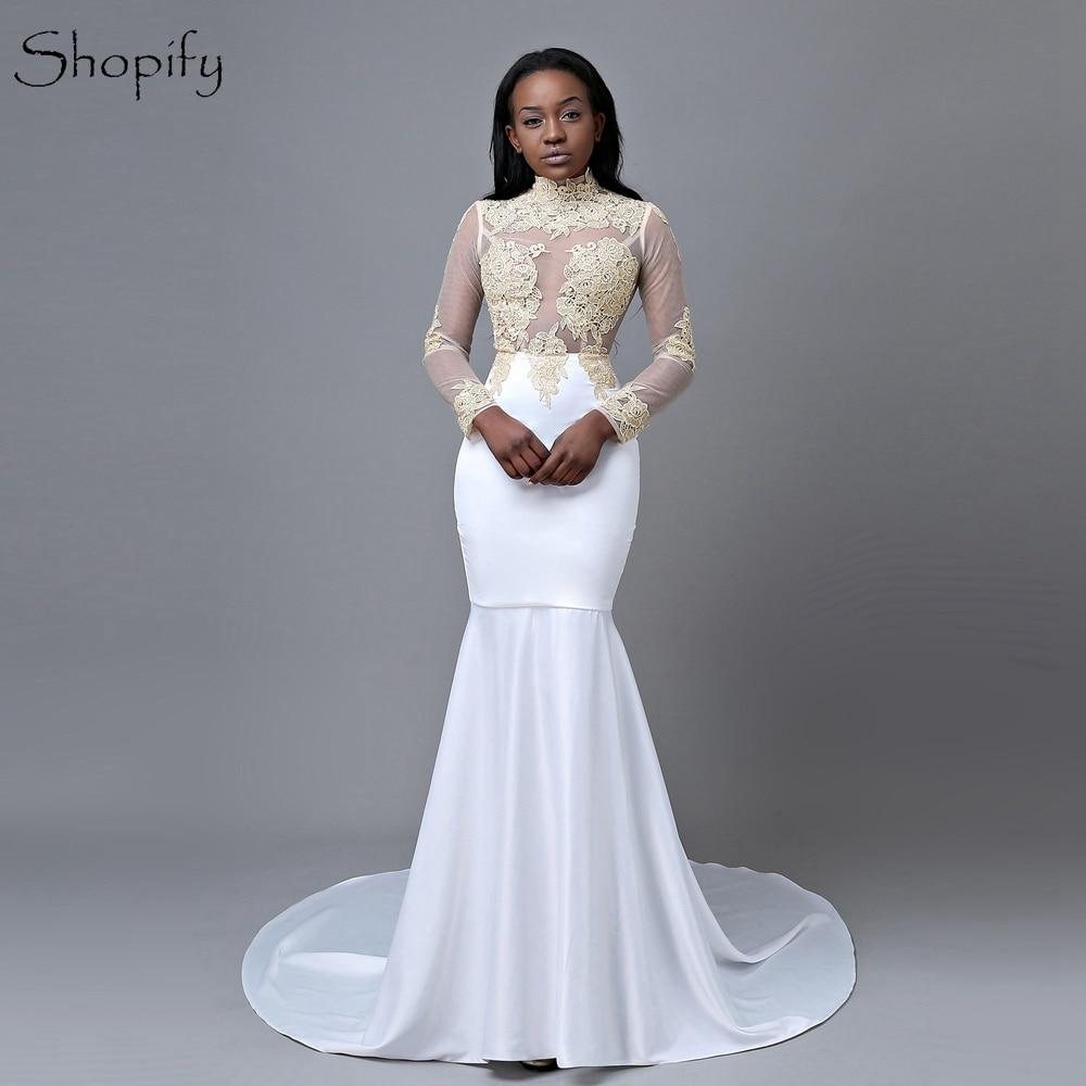 Elegant Mermaid High Neck Long Sleeve Gold Lace Floor Length African Long White   Prom     Dresses   2019