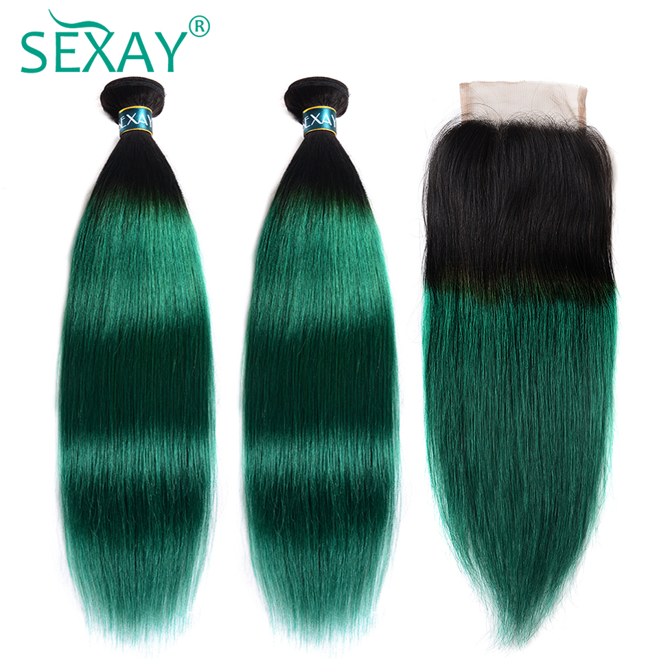SEXAY Ombre Bundles With Closure T1B/Green Two Tone Ombre Brazilian Straight Hair Weave 3 Bundles With Closure Non Remy Hair
