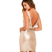 1e61faf3a4c854 Sexy backless club wear sparkly champagne gold sequin dress festa dress  Rave glitter sleeveless evening party mini bodycon dress