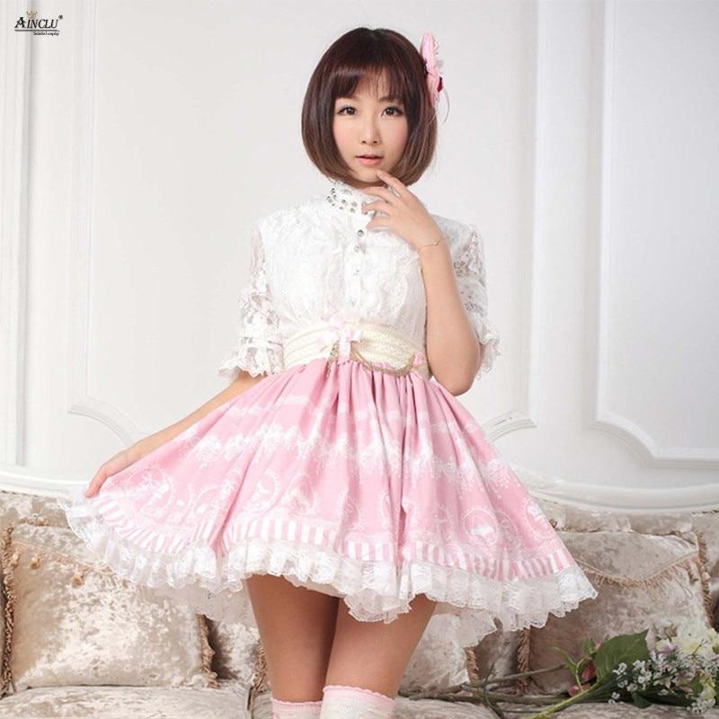 Ainclu personnaliser Cosplay Lolita jupes motif imprimé rose princesse doux Style bouffante dentelle jupe femmes XS-XXL