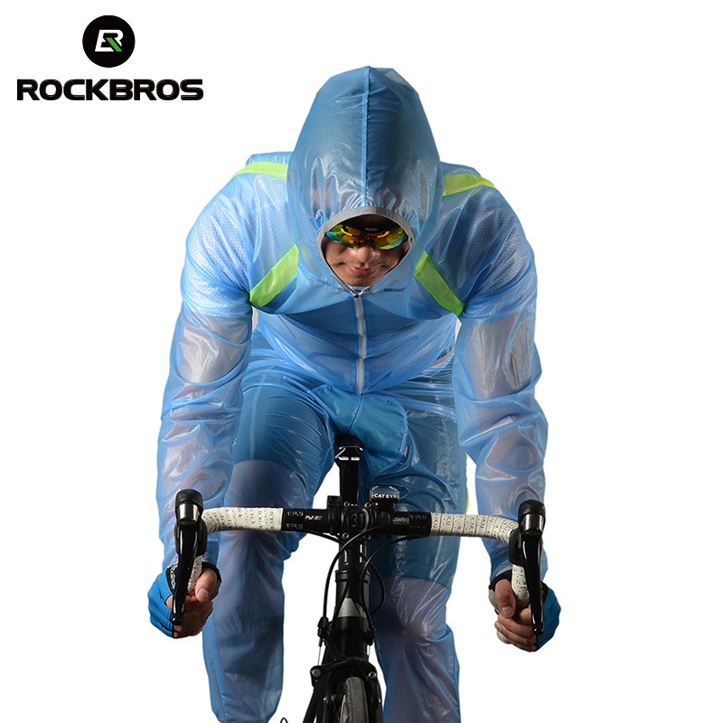 ROCKBROS Cycling Raincoat Road Mountain Rainproof Cycling Rain Jackets Set Men Bike Poncho Jacket Hooded Raincoat Suit 3 Colors avs pf 1155h 43175 2