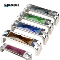 Dual Color Crystal Chrome Base Handle Knobs Cabinet Cupboard Drawer Door Handle Wardrobe Dresser Pull Crystal