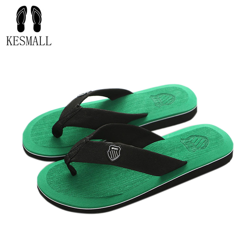 KESMALL New Arrival Summer Men Flip Flops High Quality Beach Sandals Anti-slip Zapatos Hombre Casual