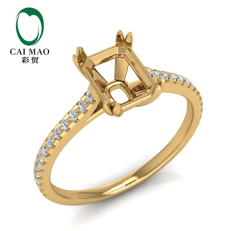 Bague de fiançailles bijoux 14K or jaune naturel 0.23ct diamant Semi monture 6x8mm taille émeraude réglage
