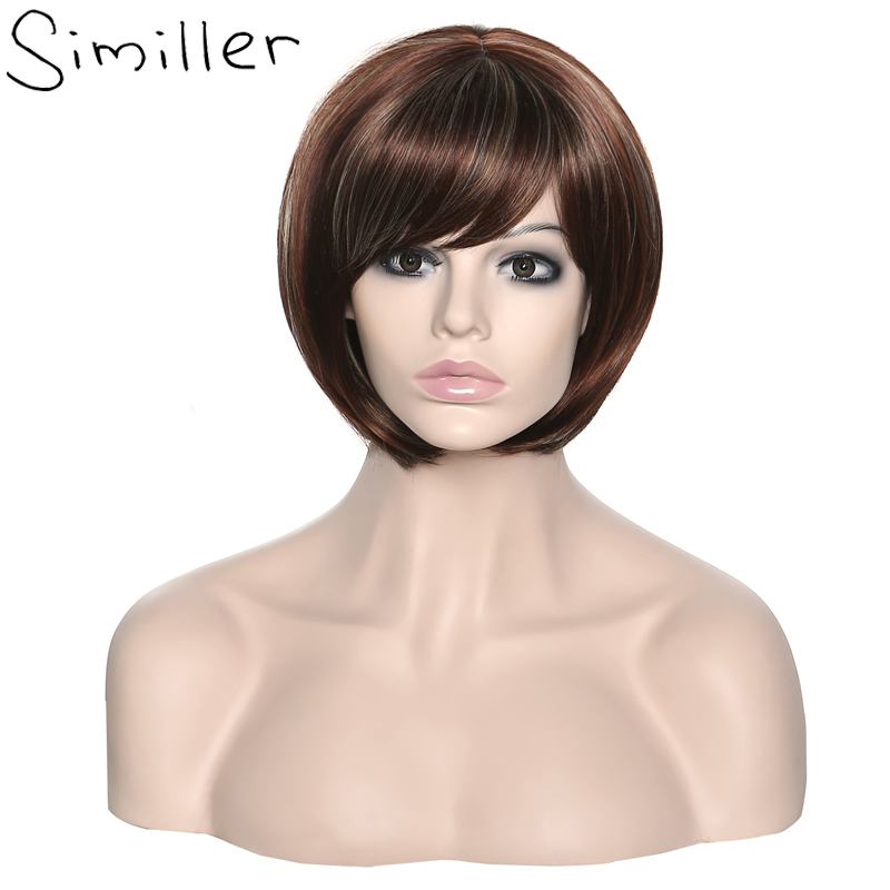 Similler Afro Women Heat Resistance Synthetic Fiber Asymmetrical Tilted Bangs Dark Brown Ombre Short Wigs Highlight