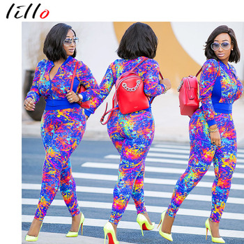 2019 two-piece fashion design Fashion Print Long Sleeve Pants Set African American Leisure Set High Quality Street hipster outfi Блузка