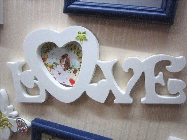3d Cadre Photo Artificielle Bois Lettre Debout Libre Coeur Forme