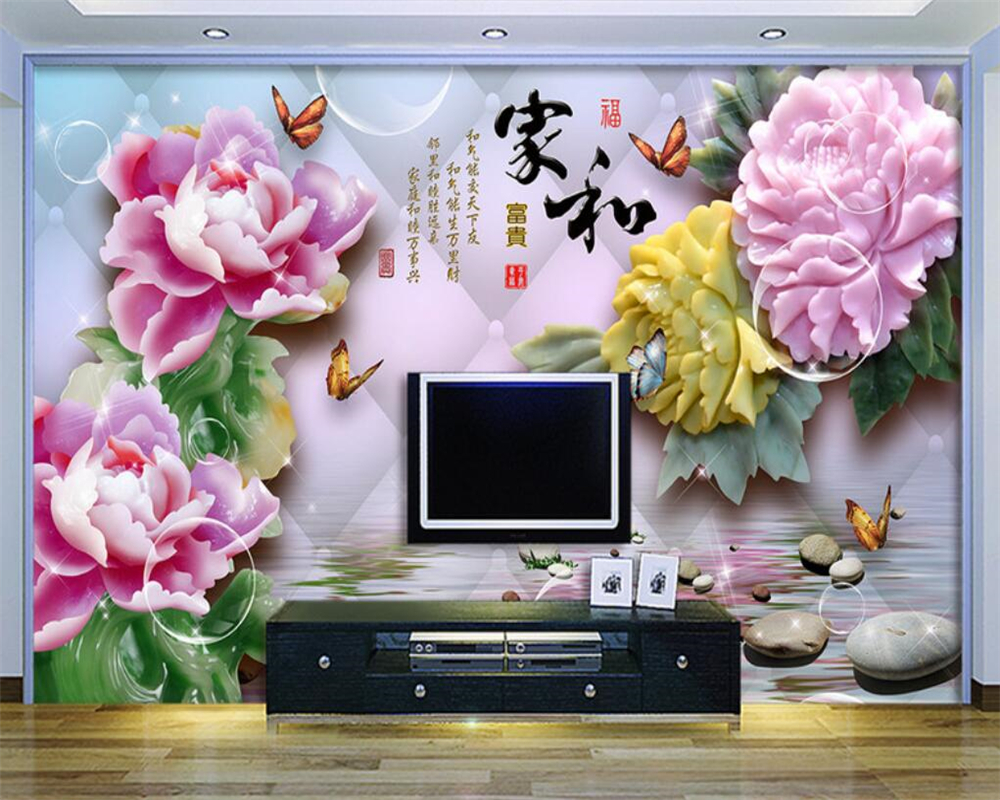 Beibehang Customize any size 3D wallpaper jade carving reflection peony living room TV wall decoration wallpaper for walls 3 d
