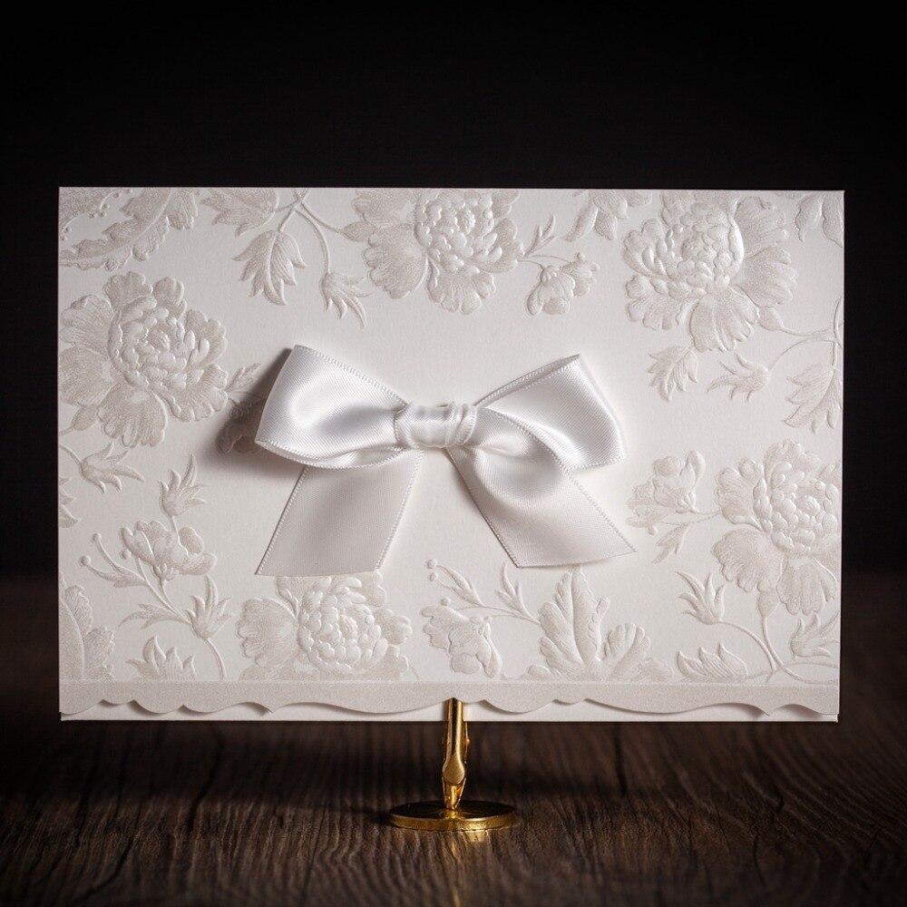 CW5199 white embossed laser cut wedding invitation free shipping ...