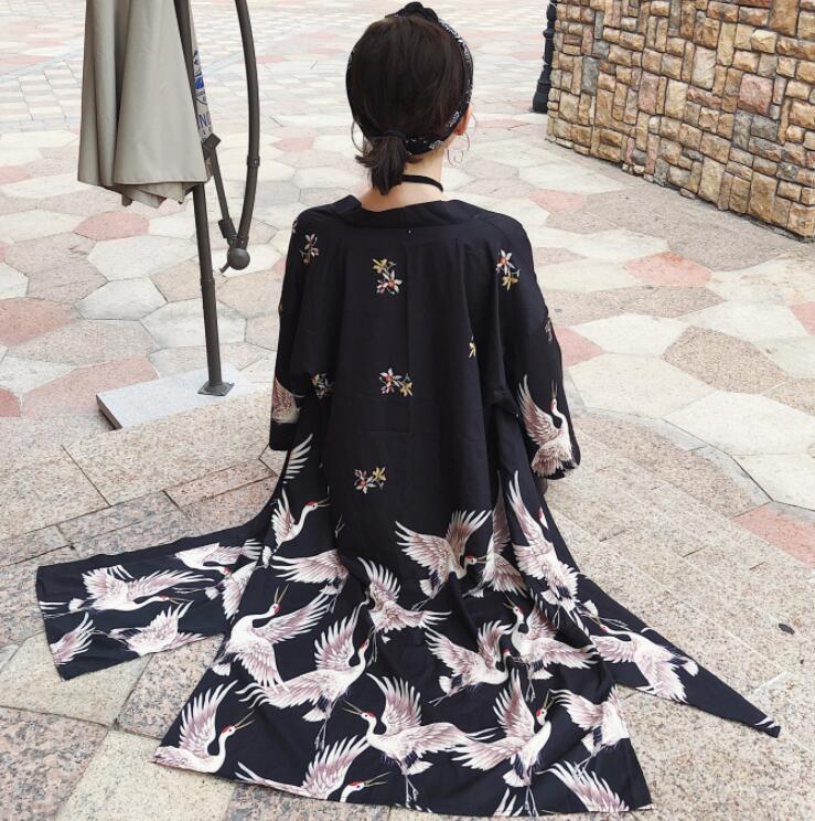 2018 nuevo estilo kimono delgada larga grúa impresión cárdigan camisa