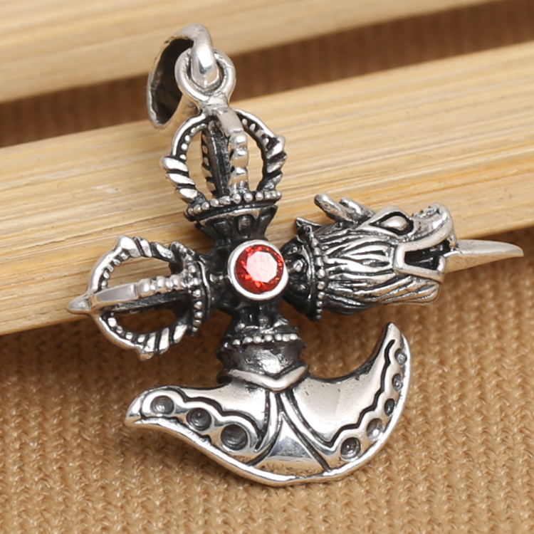 Handmade 925 silver tibetan dorje font b knife b font pendant vintage sterling silver dragon pendant