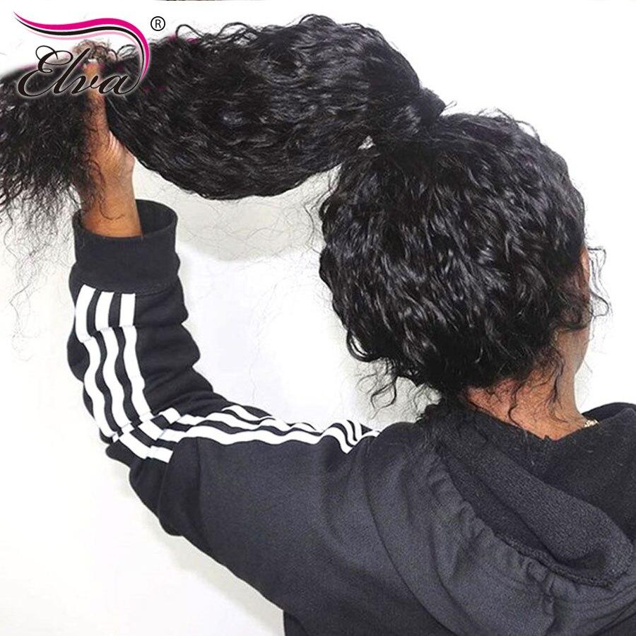Elva pleine dentelle perruques de cheveux humains sans colle perruques de cheveux humains pour les femmes noires Remy 360 frontale pleine dentelle perruques pré plumé bébé cheveux