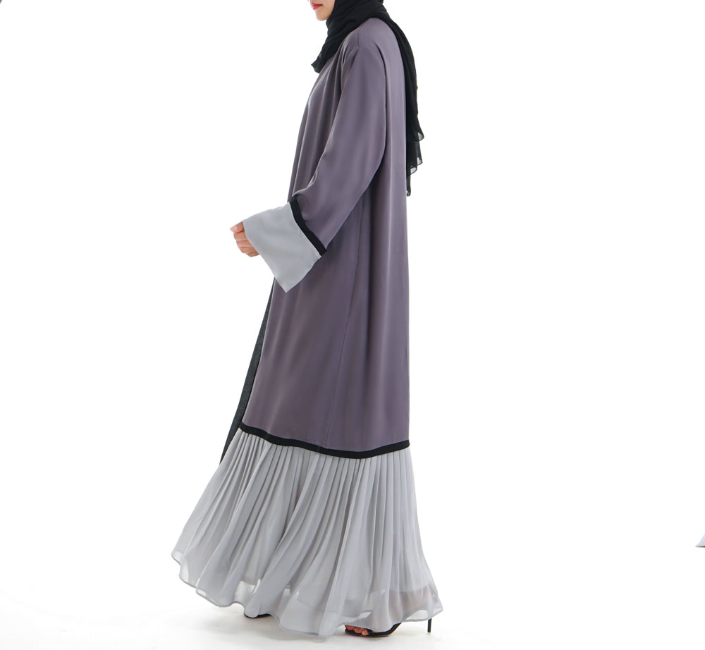 BYWX Women Floral Embroidery Middle East Dubai Muslim Open Front Cardigan Robe Dress