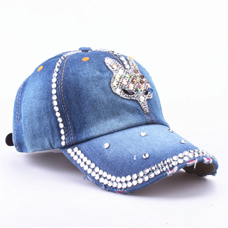 YARBUU  Baseball Caps 2017 new fashion Rhinestones Jean hat Denim Caps  Snapback Hats Adjustable summer hat sun hat-in Baseball Caps from Apparel  ... e1662792a756