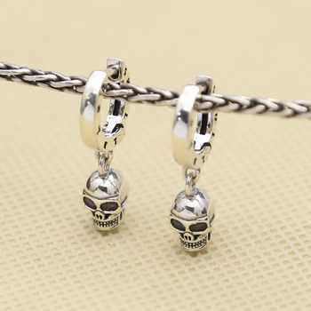 DL S925 sterling silver Trendy skull earrings Punk biker mens for gift E111 - DISCOUNT ITEM  23% OFF Jewelry & Accessories