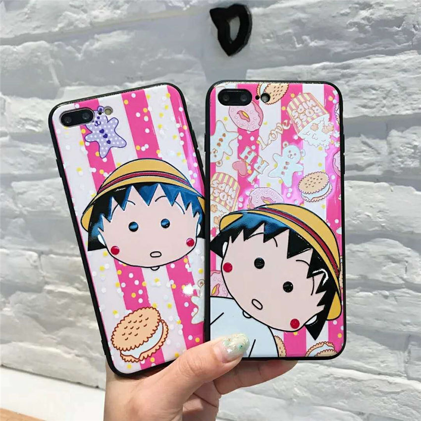 Chibi Maruko Chan Home: Relief Varnish Cartoon Cases Capa For IPhone X 6 Plus 8 7