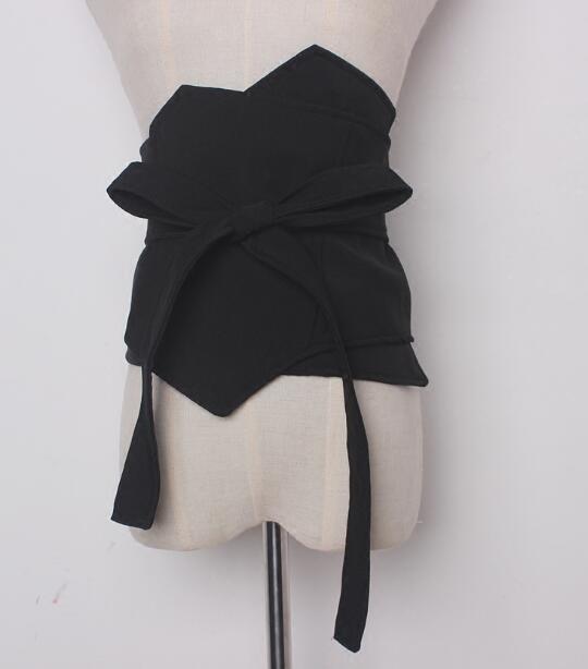 Women's Runway Fashion Black Fabric Cummerbunds Female Korean Fashion Decoration Wide Belt R886
