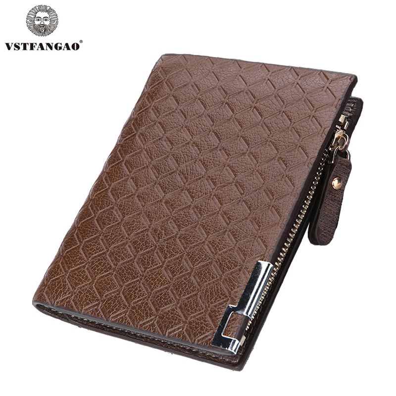 High Quality PU Leather Men Wallet with Zipper Pocket Short Coin Purse Small Fashion Wallet Brand High Quality Business Designer