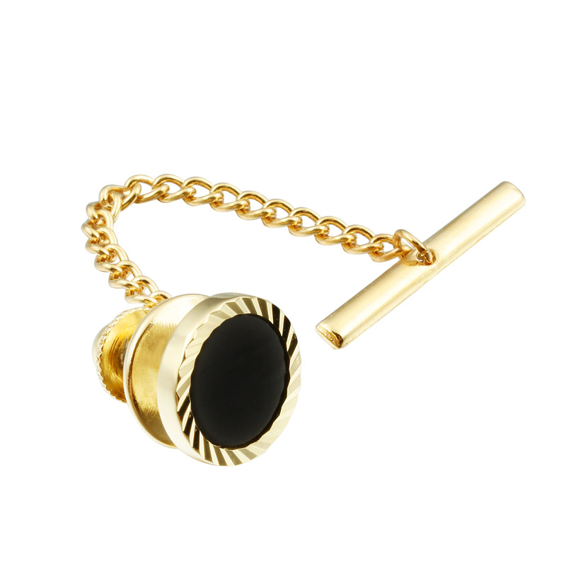 HAWSON Men's Tie Tack Gold Color Tie Tack Clutch Back Fashion Tie Tack Pin With Chain For Men