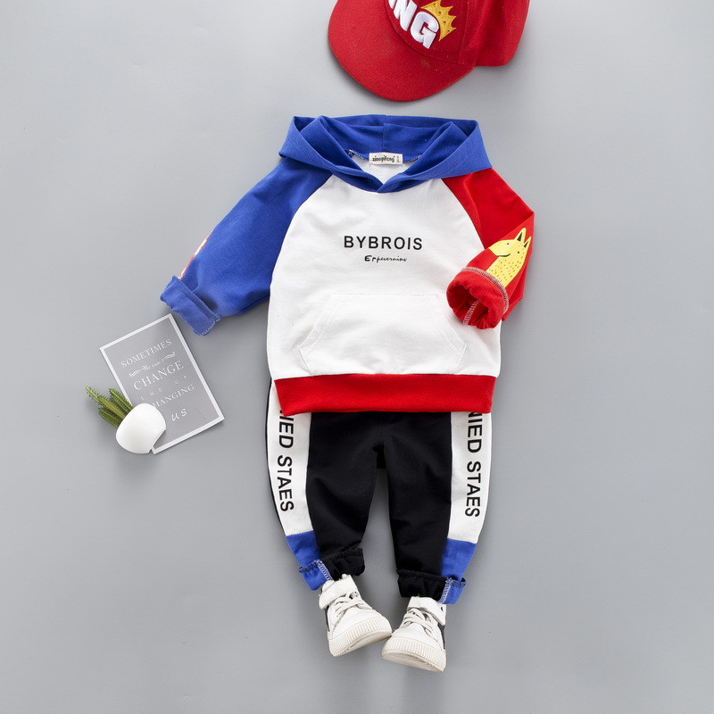 0-4 years High quality boy girl clothing set 19 new spring active patchwork kid suit children baby clothing Hoodies+pant 2pcs 1