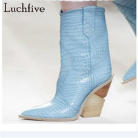 New genuine leather wedges ankle boots women sexy snake pattern pointy toe short boots blue beige slip on high heels shoes women