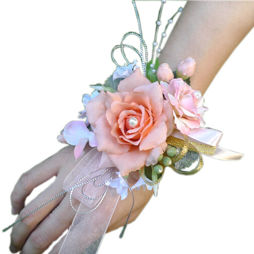 Bridal Wrist Corsage Wedding Party Prom Bridesmaid Flower Bracelet Red Pistilos Para Flores Fx486 In Artificial Dried Flowers From Home Garden On