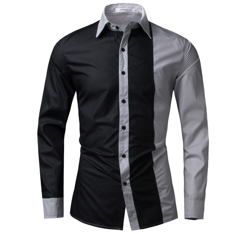 T bird brand 2017 men shirt black white dress shirt long for Mens slim hawaiian shirt
