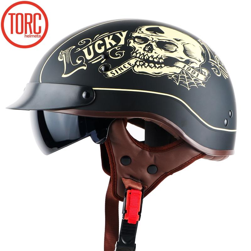 все цены на New TORC Harley helmet With Inner Sun Visor Vintage Half Face Motorcycle summer Helmet Casco Casque Moto Retro Helmets DOT T55