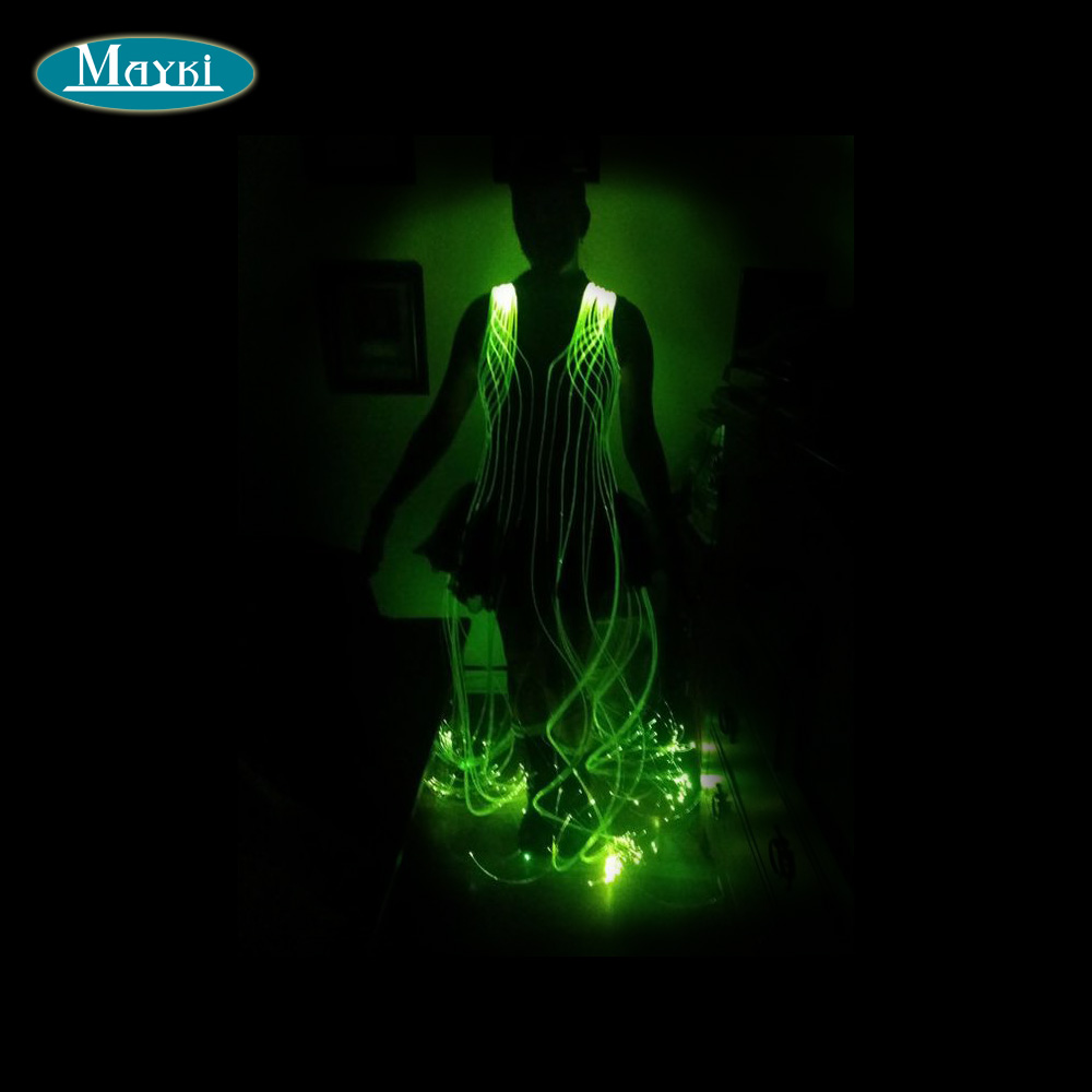 New Apparel Super Awesome Fiber Optic Dress With 7 Color Changing Machine And 100pcs Star