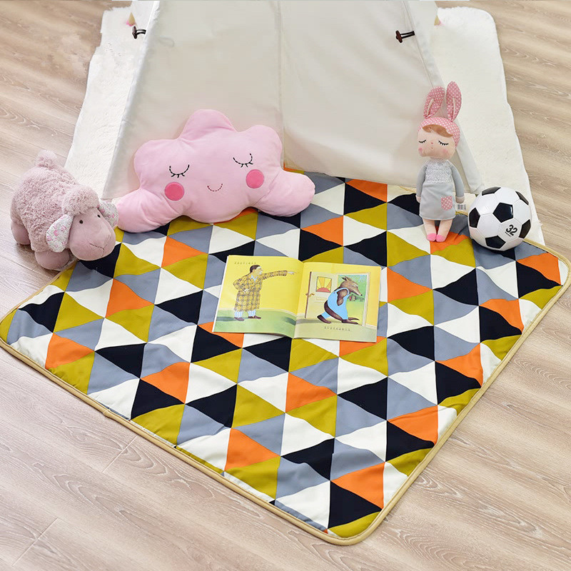Orange Triangles Baby Kids Infant Crawling Activity Indian Play Mat Kids Rug Floor Mat for Teepee Tent