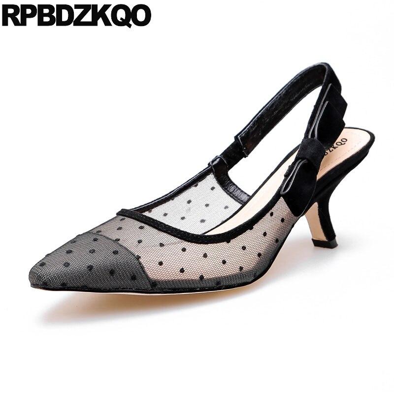 930138fe9a8 Lace Pumps Designer Shoes Women Luxury 2017 Slip On Stiletto Bowtie Sandals  Slingback Black Famous Brand Bow Strap High Heels